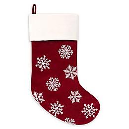 Harvey Lewis™ Traditional Velvet Snowflake Christmas Stocking in Red/White