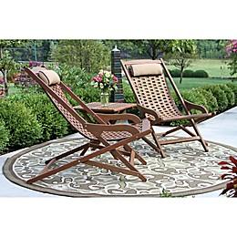 Outdoor Interiors® 3-Piece Eucalyptus Folding Swing Lounger Set