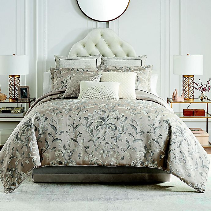 Alternate image 1 for Waterford® Andria 4-Piece Reversible Comforter Set in Taupe
