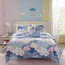Urban Habitat Kids Cloud Cotton Printed Coverlet Set in Purple
