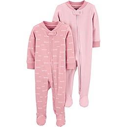 carter's® Preemie 2-Pack Sleep and Play Pajamas in Pink