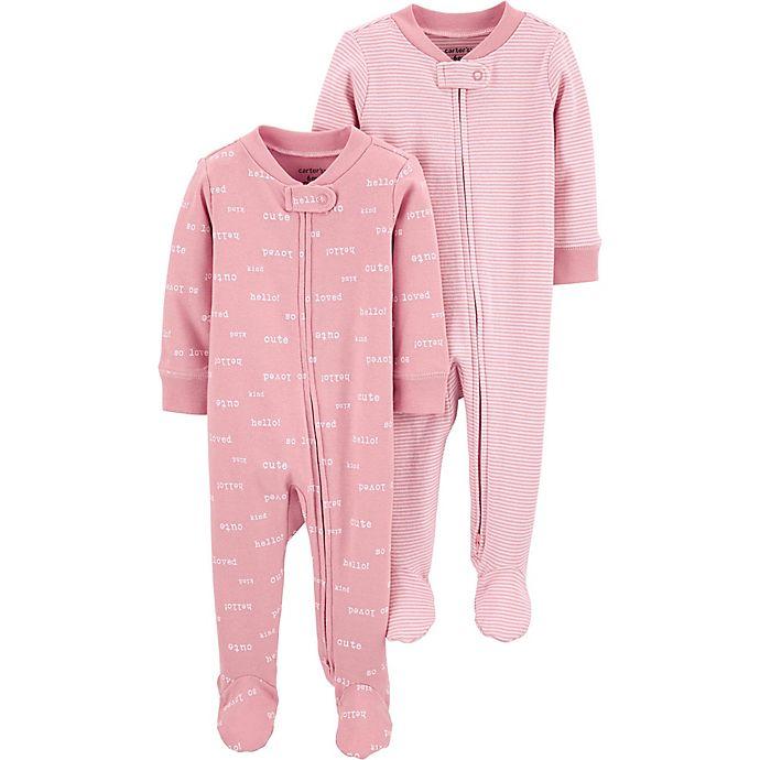 Alternate image 1 for carter's® Preemie 2-Pack Sleep and Play Pajamas in Pink