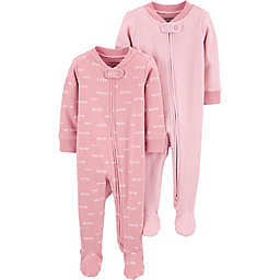carter's® Preemie 2-Pack Sleep and Play Pajamas in Pink