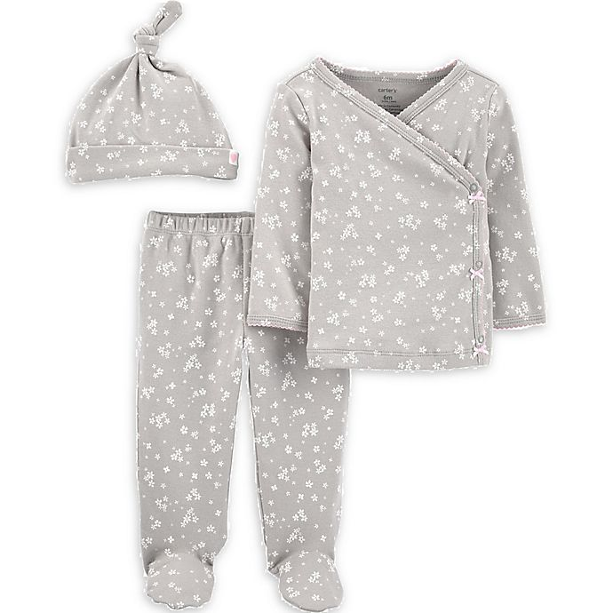 Alternate image 1 for carter's® Preemie 3-Piece Floral Kimono, Pant, and Cap Set in Grey
