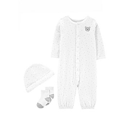 carter's® Preemie 3-Piece Bear Converter Gown, Cap, and Sock Set in White/Grey