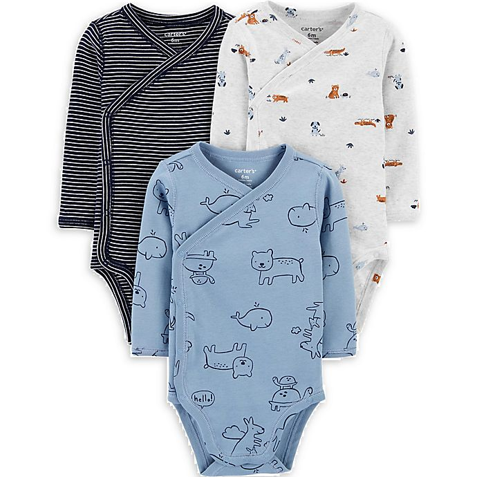 Alternate image 1 for carter's® Preemie 3-Pack Animal Side-Snap Bodysuits in Blue/Grey