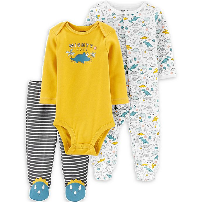 Alternate image 1 for carter's® 3-Piece Dino Long Sleeve Bodysuit, Pant, and Footie Set