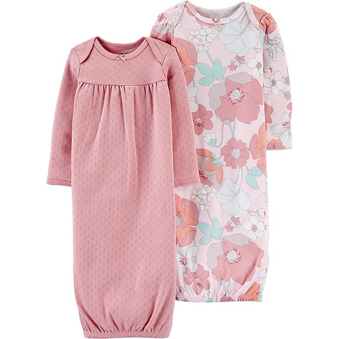 Alternate image 1 for carter's® Preemie 2-Pack Floral Gowns in Pink