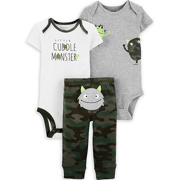 Alternate image 1 for carter's® 3-Piece Monsters Bodysuits and Pant Set