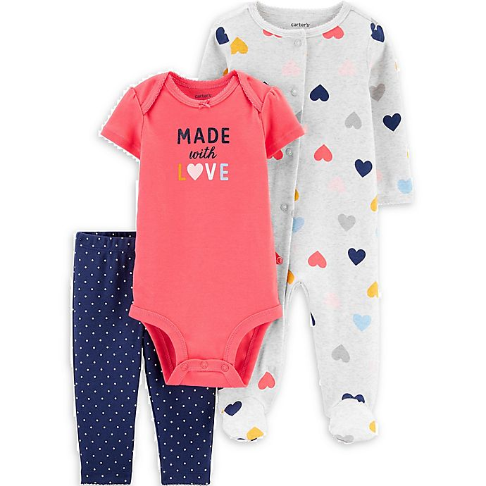 Alternate image 1 for carter's® 3-Piece Hearts Bodysuit, Pant, and Footie Set