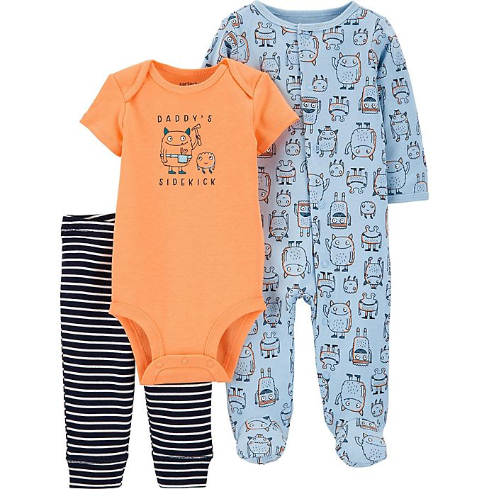 Alternate image 1 for carter's® 3-Piece Monster Bodysuit, Pant, and Footie Set