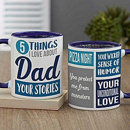 What I Love About Dad Personalized 11 oz. Coffee Mug Collection