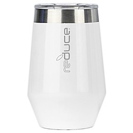 Reduce 12 oz. Beveled Wine Tumbler with Lid in White