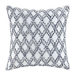 INK+IVY Riko Cotton Embroidered Square Pillow in Navy