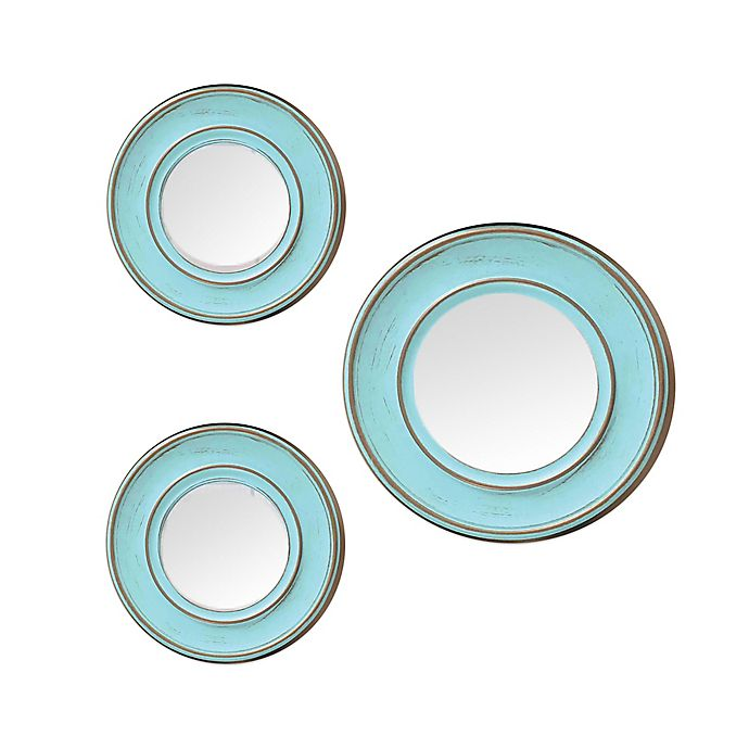 Alternate image 1 for Weathered 3-Piece Round Wall Mirror Set in Blue