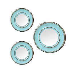 Weathered 3-Piece Round Wall Mirror Set in Blue