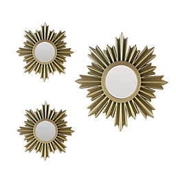 Star Burst 3-Piece Round Wall Mirror Set in Gold