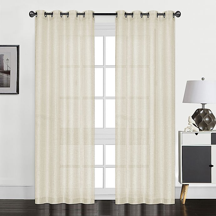 Alternate image 1 for Perry 84-Inch Grommet Textured Sheer Window Curtain Panel