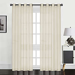 Perry 84-Inch Grommet Textured Sheer Window Curtain Panel
