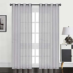 Perry 84-Inch Grommet Textured Sheer Window Curtain Panel in Silver