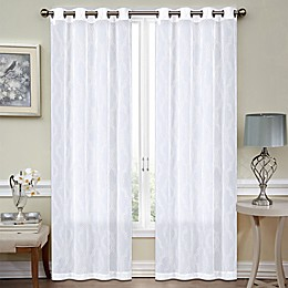 Sumner Embroidered 84-Inch Grommet Sheer Window Curtain Panel