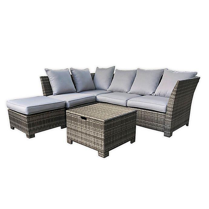 Alternate image 1 for Coastal 6-Piece Sectional Patio Sofa Set in Grey/Cream