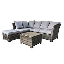 Coastal 6-Piece Sectional Patio Sofa Set in Grey/Cream