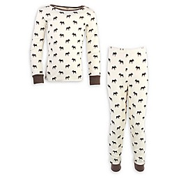 Touched by Nature 2-Piece Moose Organic Cotton Pajama Set in Brown