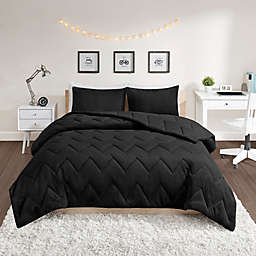 Intelligent Design Kai Solid Chevron Quilted Reversible Comforter Set in Black
