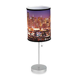 San Francisco Night Sky Table Lamp with Silver Finish Base
