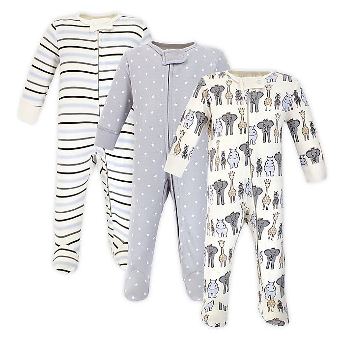 Alternate image 1 for Hudson Baby® Royal Safari 3-Pack Sleep and Play Footies in Blue/Grey