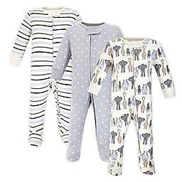 Hudson Baby® Royal Safari 3-Pack Sleep and Play Footies in Blue/Grey
