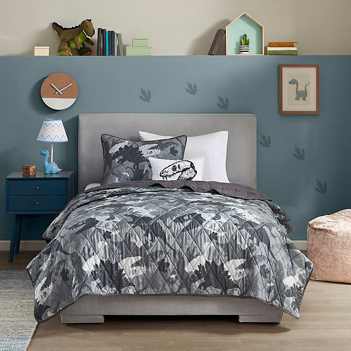 Alternate image 1 for Mi Zone Kids Dylan Dino Camo Coverlet Set