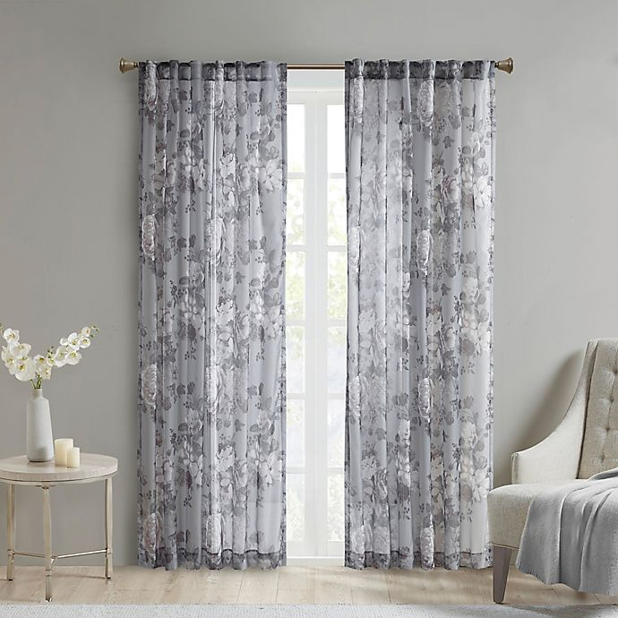 Alternate image 1 for Madison Park Simone Rod Pocket/Back Tabs Printed Floral Voile Sheer Window Curtain Panel