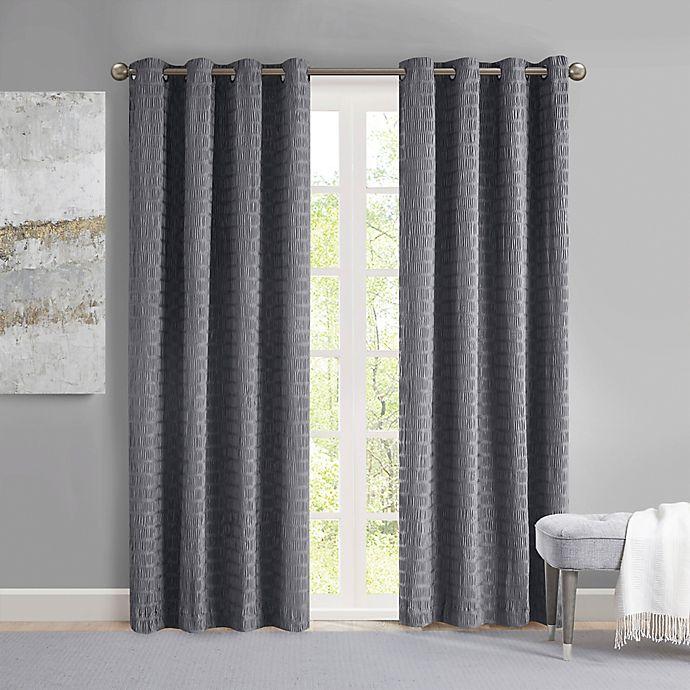Alternate image 1 for Madison Park Arcadia 95-Inch Grommet Crinkle Matte Satin Panel in Grey