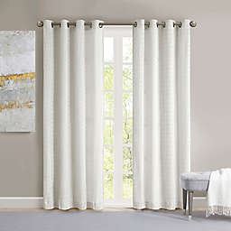 Madison Park Arcadia 84-Inch Grommet Crinkle Matte Satin Panel in White