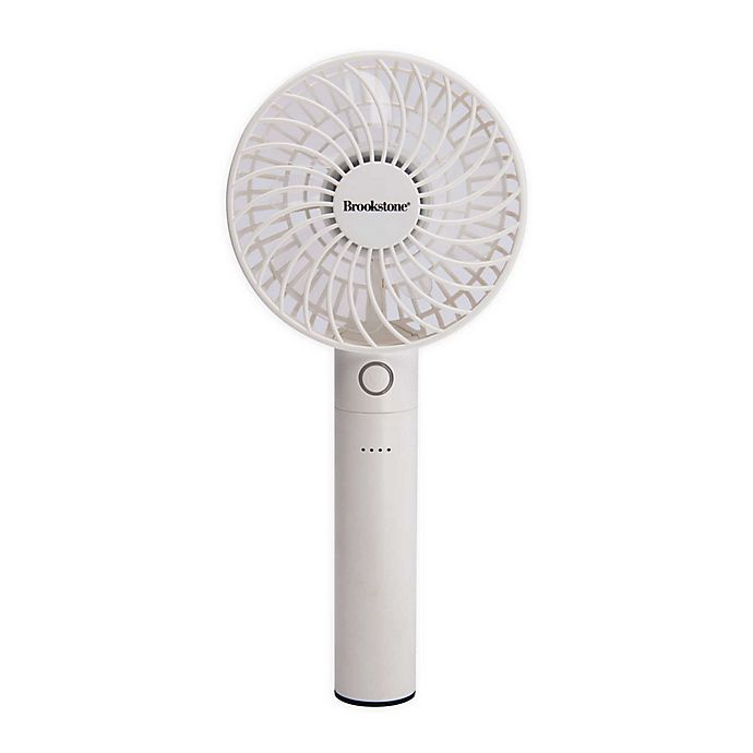 Alternate image 1 for Brookstone® 4-Inch Rechargeable Mini Fan with Power Bank in White