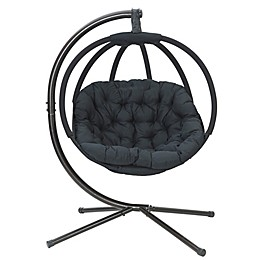 Overland Hanging Ball Chair with Stand in Black