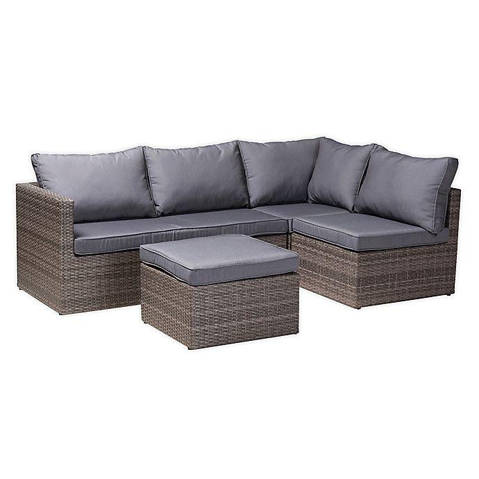 Baxton Studio Denise 4 Piece Woven, Outdoor Patio Furniture Set