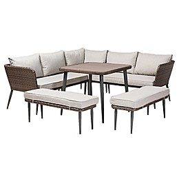Baxton Studio™ Desirae 5-Piece Woven Rattan Outdoor Patio Furniture Set in Grey/Brown