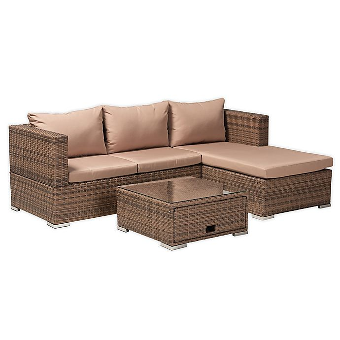 Alternate image 1 for Baxton Studio™ Aleck 3-Piece Woven Rattan Outdoor Patio Furniture Set in Brown