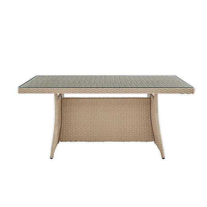 Alternate image 1 for Canaan All-Weather Wicker and Glass Outdoor Cocktail Table in Brown