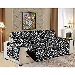 Leaf Reversible Oversized Sofa Cover in Black