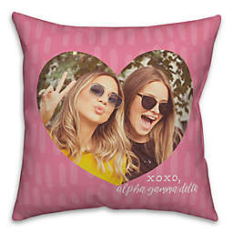 Designs Direct XOXO Greek Sorority Photo Square Throw Pillow Collection in Pink