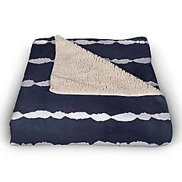 Navy Nautical Stipes  50x60 Sherpa Fleece Blanket