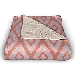 Coral Ikat 50x60 Sherpa Fleece Throw Blanket