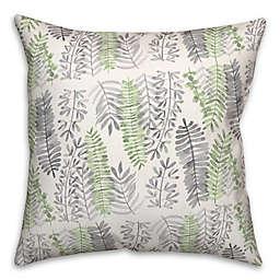 Green and Gray Ferns 18x18 Spun Poly Pillow