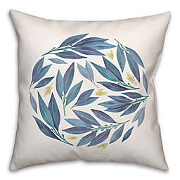 Blue Floral Leaves 18x18 Spun Poly Pillow