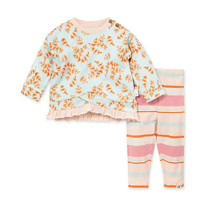 Alternate image 1 for Burt's Bees Baby® Leaves & Twigs Tunic & Legging Set in Red/White