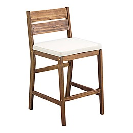 Forest Gate 2-Piece Acacia Wood Patio Counter Stool Set with Cushions